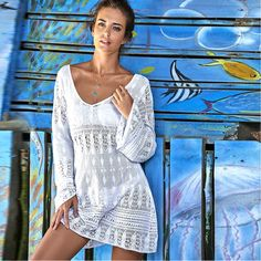 Bathing Suit Cover Ups Swimwear Women Beachwear Dresses Mayo Bikini 2017 New Recreational Loose Smock Pierced Saida De Banho