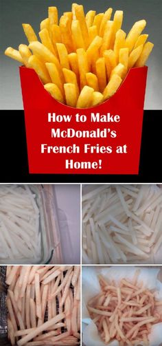 How to Make McDonald's Fries at Home! - Pin McDonald's Fries Copycat Recipe for Later. -Learn How to Make McDonald's Fries at Home! - Pin McDonald's Fries Copycat Recipe for Later. Mcdonalds French Fries Recipe, Mcdonalds Chips, Mcdonalds Recipes, Mcdonald French Fries, Mcdonalds Chicken, French Fries At Home, Making French Fries, Deep Fried French Fries, Desserts