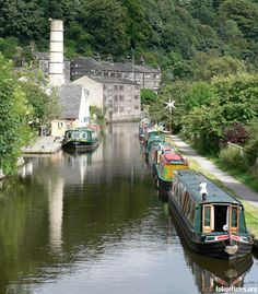 Narrowboats on the canal, England; possibly taken outside Manchester at Hebden Bridge.