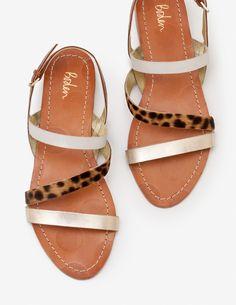 Bronwen Sandals - Gold Metallic and Tan Leopard Gold Sandals, Gladiator Sandals, Leather Sandals, Shoe Bin, Boden Uk, Footwear, Metallic, Shoes, Criss Cross