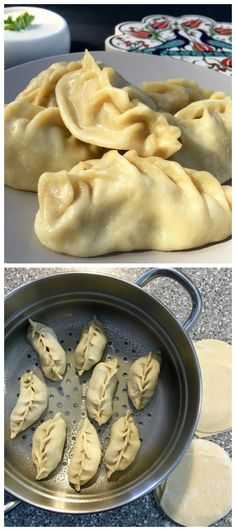 Central Asian Manti Steamed Dumplings made with ground beef and pumpkin. Popular across Russia, Kazakhstan and Uzbekistan. Delicious with sour cream - Manti Russian Steamed Dumplings (Манты) Ukrainian Recipes, Russian Recipes, Russian Foods, Russian Dishes, Ukrainian Food, Croatian Recipes, Eastern European Recipes, Steamed Dumplings, Gourmet