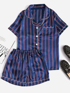 Contrast Piping Striped Shirt & Shorts Pajama Set - Pajama Sets - Ideas of Pajama Sets - Contrast Piping Striped Shirt & Shorts Pajama Set For Women-romwe Pyjama Sexy, Satin Pyjama Set, Pajama Outfits, Pajama Shorts, Cute Sleepwear, Cozy Pajamas, Night Suit, Womens Pyjama Sets, Striped Pyjamas