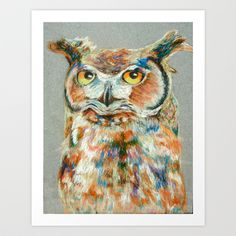Owl Pastel Art Print by Kristina Bjornson - $15.00