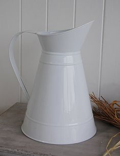 White Enamel Jug / Vase from The White Lighthouse