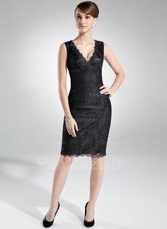 Sheath/Column V-neck Knee-Length Lace Mother of the Bride Dress (008016004)