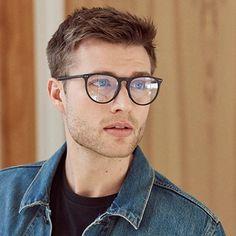 Glasses For Men, Super Glasses, Big Glasses, Clear Round Glasses, Character Inspiration, Character Design, Comic Tutorial, Deep Set Eyes, Blonde Guys