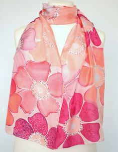 Silk scarf hand painted pink floral scarf pink scarves