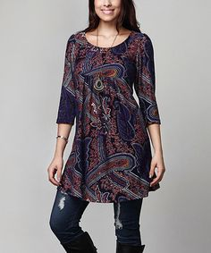 Look what I found on #zulily! Purple Floral Empire-Waist Tunic Dress - Plus #zulilyfinds
