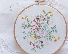 Welcome to my shop. This listing is for a Do It Yourself project and not the completed design.  Botanical flowers Embroidery design can make a wonderful wall decoration. Perfect as a gift or a lovely addition to your home.  ----------------------------------------------  The kit includes: - Printed design on a 6.6x13.7 white fabric with a machine stitched hem. - Wooden rod and a matching string for display. - Stitching and Color Guides. - DMC embroidery threads. - Embroidery needle…