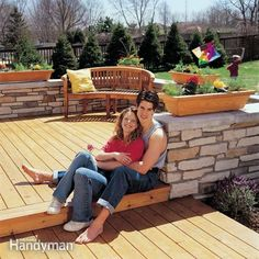 Construct an eye-catching cedar deck surrounded by  a veneered stone wall that provides both privacy and seating. the article includes full plans and material list, along with complete how-to instructions.