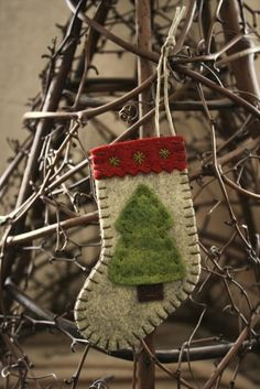 Felt stocking ornament holiday decoration