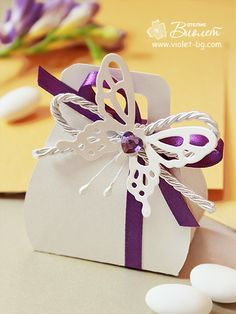 #Butterfly inspired #wedding favor, purple butterfly bomboniere from www.violet-bg.com