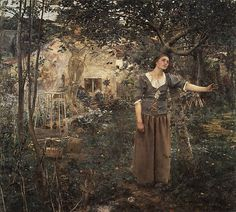Joan of Arc Jules Bastien-Lepage  (French, Damvillers 1848–1884 Paris) Date: 1879 Medium: Oil on canvas Dimensions: 100 x 110 in. (254 x 279.4 cm) Classification: Paintings
