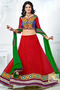 Get center of attraction wearing this red and green color lehenga choli decorated in Net, Silk fabric. Lehenga is simple with border work arrive stunning look.