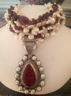 Silver, pearl and garnet necklace, char bafalis