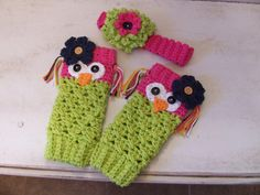 Crochet Owl Leg Warmers W/Headband by Sparkleyexpressions on Etsy, $25.00