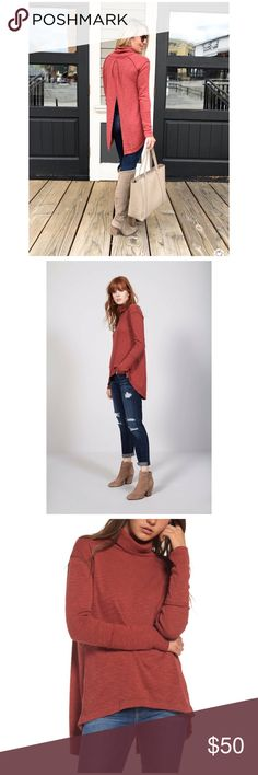"""Free People Split Back Turtleneck A softly marled turtleneck in a rich, fall-ready shade is styled with long raglan sleeves, a breezy high/low hem and a flyaway back that makes this top perfect for layering. 24""""front length; 32""""back length (size Small) Turtleneck. Long sleeves. Back slit. 50% polyester, 38% cotton, 12% rayon. Machine wash cold, dry flat. 🚫No trades Free People Tops"""