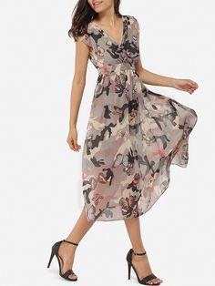 Surplice Chiffon Printed Maxi-dress