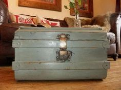 FABULOUS VINTAGE Tin TRUNK Painted Banded . chest. Storage, Coffee Table, FAB | eBay
