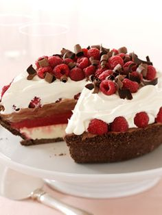 12 Decadent Chocolate Pie Recipes - this one is the chocolate raspberry ice cream pie