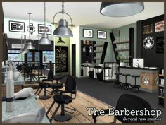 Created By Angela The Barbershop Created for: The Sims 4 A new Sims 4 set with several new meshes to recreate a barbershop. Set contains 14 new meshes. Other barbershop items shown in pictures are. Sims 4 Mods, Barber Shop Chairs, Sims 4 Controls, Casas The Sims 4, Building Signs, Sims 4 Cc Furniture, Sims 4 Build, Sims 4 Game, Sims 4 Update