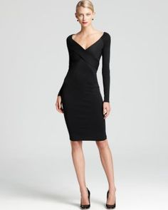 DONNA KARAN LONG SLEEVE V-NACK CROSS FRONT DRESS