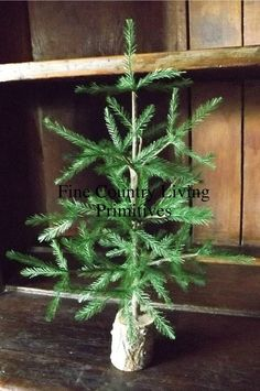 Primitive Country Colonial Cabin Christmas Feather Tree with Real Wood Base 12""