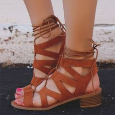 77003d9483e Brown Chunky Heels Lace up Gladiator Sandals Open Toe Strappy Sandals