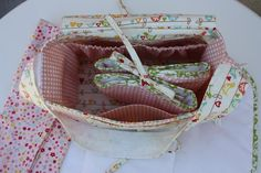 Doll Diaper Bag Pattern, Mixi Heart Pattern, changing pad and receiving blanket, Riley Blake The Sweetest Thing Fabric