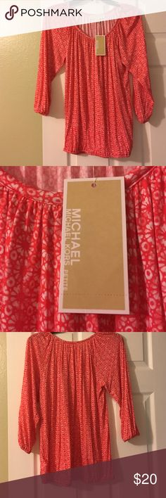 Michael Kors 3/4 length sleeve top NWT Size PS. CORAL REEF color. Very soft and comfortable feeling. MICHAEL Michael Kors Tops Tees - Long Sleeve