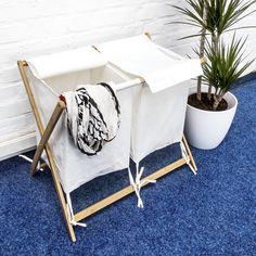 Relaxdays 10018471 Wäschesammler / Wäschekorb Bambus faltbar mit 2 Stoffbeuteln und Deckel: Amazon.de: Küche & Haushalt