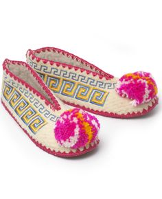 Greek Slippers from nonesuch things/ these are soooo cute. I must go to Greece and pick up a pair:) Cute Slippers, Bling Shoes, Textiles, Gadgets, Baby Boots, Modern Colors, Candy Colors, Dance Dresses, Creations
