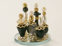 Dollhouse Miniature Perfume Bottle Collection Dark Nights Black Charcoal Smoky Onyx One Inch Scale