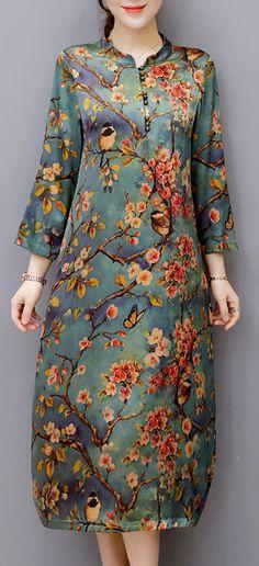 US$ 31.74 Vintage Women Long Sleeve O-Neck Print Dresses