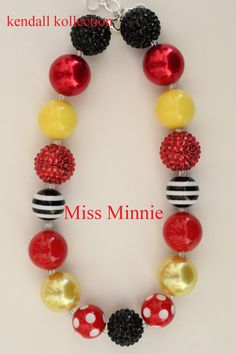 """""""Miss Minnie"""" Minnie Mouse inspired Chunky Beaded Necklace for women, girls, kids"""