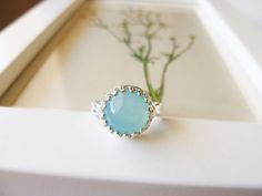 Blue Chalcedony Ring  Blue Chalcedony and Sterling by PoppyandGwyn