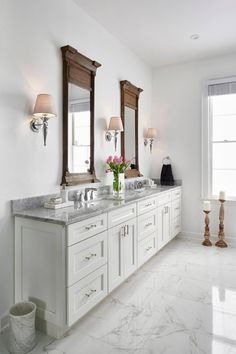 White Traditional Master Bath With Carrara Marble Countertop | HGTV