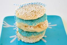 Blue and White Sprinkle Cookies for Hanukkah