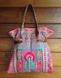 Vintage Hmong baby carrier tote bag ethnic handmade Tribal embroidery  geuine leather strap on Etsy e56d793b74834