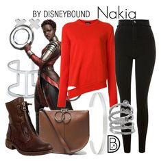 """""""Nakia"""" by leslieakay ❤ liked on Polyvore featuring Witchery, Vince Camuto, Topshop, Jennifer Fisher, Nina Ricci, Calvin Klein 205W39NYC, Cole Haan, Miz Mooz, disney and disneybound"""