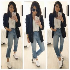 One way you can immediately look modern-day is to integrate current trends in your OOTDs. But be mindful with trends and absolutely do not wear trendy pieces head-to-toe. Try pairing some frayed denims with a basic t-shirt for beginners. Look Blazer, Blazer With Jeans, Blazer Fashion, Fashion Outfits, Fashion Hats, Girl Fashion, Fashion Looks, Womens Fashion, Boyfriend Look