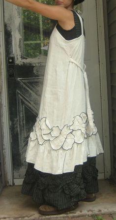 White Linen Petal Dress 2X Plus Size by sarahclemensclothing