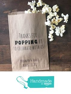 """Wedding Favor Bags, Popcorn Bar Snack Bags, Thanks for Popping By, Natural Recycled Kraft Paper Bags, Personalized for you 5x7"""" from Laurel & Twine Paperie https://www.amazon.com/dp/B01MFDOD7S/ref=hnd_sw_r_pi_dp_.v6eybDCEWJ83 #handmadeatamazon"""