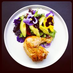 Edible flower salad with rotisserie chicken