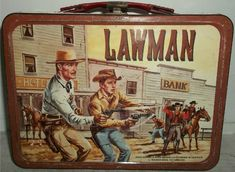 Vintage 1960 Lawman Metal Lunch Box Based on TV Series John Russell Peter Brown Retro Lunch Boxes, Lunch Box Thermos, Cool Lunch Boxes, Metal Lunch Box, School Lunch Box, School Days, Vintage Tins, Vintage Stuff, John Russell