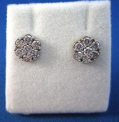 Delightful 1.00 Carat Diamond 14K Floral Cluster Earrings