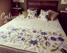 Hand Embroidery Videos, Embroidery Flowers Pattern, Hand Embroidery Designs, King Bed Covers, Floral Bedspread, Cushion Embroidery, Bow Pillows, Baby Dress Design, Crochet Square Patterns