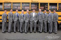 Grey suit, royal blue tie, groomsmen, white tie, school bus, Blue Hill Country Club Wedding Boston  #aubreygreenephoto
