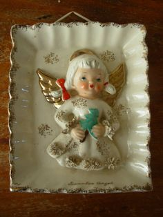 Relco December Angel plaque made in Japan 1950s by VioletsandWine, $35.00