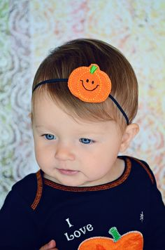 Halloween Jack O Lantern Pumpkin Headband - Baby Headband - Newborn Headband - Infant Headband. $5.00, via Etsy.